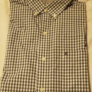 IZOD Dress Shirt Size L Grey & White